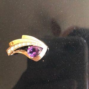 Jewelry - Diamond and amethyst slide/pendant 10k